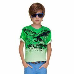 Camiseta verde - águia - para menino moço