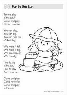 Reading Comprehension & Fluency - Phonics Poems (color and black and white). This unit includes poems with and without comprehension questions to help differentiate! Reading Comprehension Activities, Phonics Reading, Teaching Phonics, Comprehension Questions, Preschool Poems, Kindergarten Poems, Kids Poems, Kindergarten Graduation, English Poems For Kids