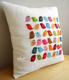 Colored Birds Pillow Cover