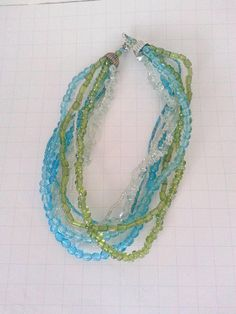 Glass Beads Vintage Necklace. Blue Green and Clear Beads