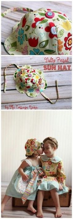 FREE Tulip Petal Sun Hat Sewing Pattern from The Cottage Mama. www.thecottagemama.com