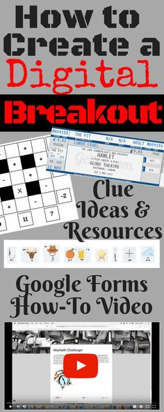 Everything you need to know to make your own digital breakout for the classroom! Ideas and resources to create clues and a link to a video on how to create the locked Google Form. Your students will love it!!!
