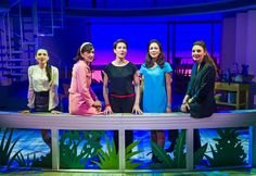 Seline Hizli (Marisa), Haydn Gwynne (Lucia), Tamsin Greig (Pepa), Anna Skellern (Candela) and Willemijn Verkaik (Paulina) in Women On The Verge Of A Nervous Breakdown at the Playhouse Theatre, London 2015. Photo by Tristram Kenton for the Guardian ♡ www.LOVEtheatre.com/tickets/3889/Women-On-The-Verge-Of-A-Nervous-Breakdown?sid=PIN