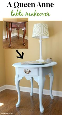 A pretty Queen Anne table makeover with Country Chic Paint's Icicle clay paint. I want to try this paint! | Green With Decor