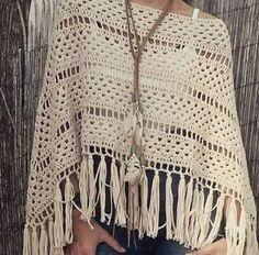 Poncho tejido al crochet