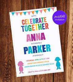 Joint Birthday Party For Boy And Girl Invitations Combined Birthday Parties, Joint Birthday Parties, 2nd Birthday, Birthday Ideas, Summer Birthday, Birthday Party Invitation Wording, Printable Invitations, Invitation Ideas, Invite