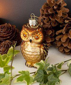 Glass Owl Christmas Tree Decoration