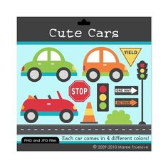 Cute Cars Clipart - Digital Clip Art Graphics for Personal or Commercial Use. $3.00, via Etsy.