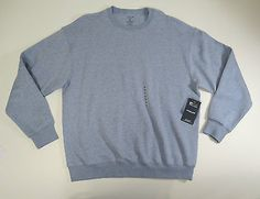 Roundtree & Yorke Sport Mens Blue Heather Crew Neck ProLuxe Fleece Sweater Sz XL