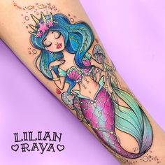 "Mermaid tattoo by  Lilian Raya (@lilianraya) on Instagram: ""Sassy mermaid para el primer tatuaje de Ari. ✨ Gracias por tu confianza y por la libertad…"""