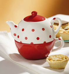 tea for one red/white ditsy dots design ~ £4.95