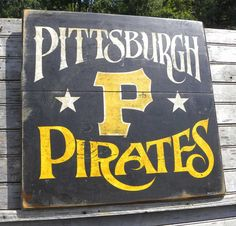 Pittsburgh Pirate Sign, hand painted, original art, vintage sign, wooden sign via Etsy