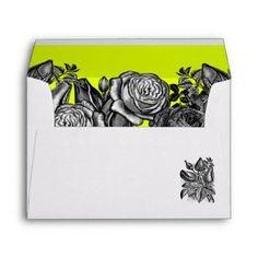 Black and White Roses Lime Green Wedding Envelope Lime Green Weddings, Black And White Roses, Wedding Invitation Envelopes, Luxe Wedding, Custom Printed Envelopes, Colored Envelopes, Colorful Interiors