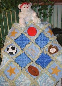 Little All Star Sports Baby Artisan Rag Quilt | eBay