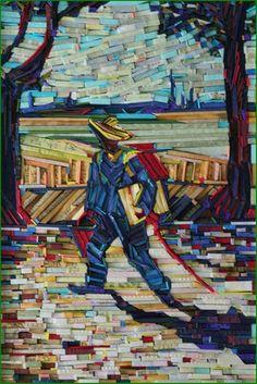 Lee Kyu-Hak: paintings recreated using wood wrapped in colorful newsprint