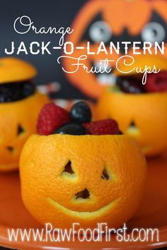 Orange Jack-o-latern fruit cups... Carve or sharpie a face on hollowed out oranges or cuties for a fun fall snack.