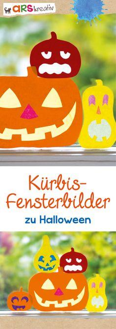 Kürbis-Fensterbilder aus Bunt- und Transparentpapier #Basteln #Halloween #arskreativ