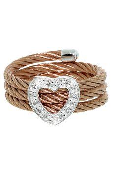 ItalGem Rose Gold Stainless Steel & Diamond Heart Cable Ring