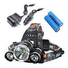 Luces para bicicleta / Linternas de Cabeza (A Prueba de Agua / Recargable / Resistente a Golpes) - LED - paraCamping/Senderismo/Cuevas – USD $ 21.24