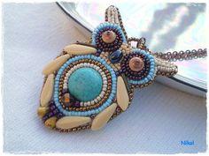 Nikol - GyöngyÉkszereim: Bagoly2 nyaklánc/ Owl bead embroidery