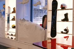 Manhattan's flagship retail store for Burton Snowboards is a 5,000 square foot interior fit-out in a historic building in SoHo. The store has 2,000 square feet of storage space a cold room for customers to try on winter apparel.