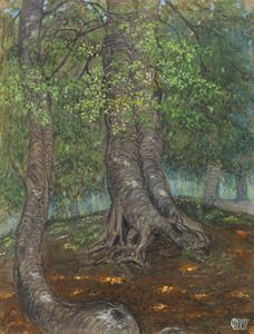 For Sale on - Forest Clearing Waldlichtung, Chalk, Gouache by Otto Dix. Offered by Gilden's Art Gallery. Landscape Drawings, Landscape Paintings, Watercolor Paintings, New Objectivity, Chalk Drawings, Gouache, Otto Dix, Art For Sale, Gera