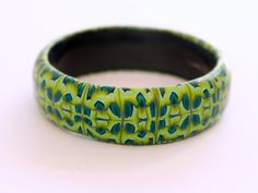 Striking contemporary bangle, lime green and blue in a geometric snakeskin pattern. Beautiful one-of-a-kind bracelet by DoodlePippin