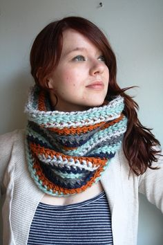 Navy, Rust, and Sea Blue Circle Scarf