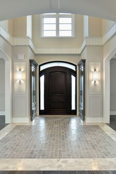 Estate Model Home, Richmond Hill Ontario traditional entry Ahhhh. Closets by the foyer! If we have enough room, bliss! Floor Design, House Design, Tile Design, Richmond Hill Ontario, Entry Tile, Entryway Flooring, Tile Entryway, Marble Foyer, Tile Flooring