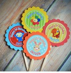 BabyFirst Tv Friends Personalized Happy 1st Birthday Cupcake Toppers