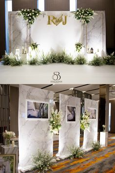 Top photo could be opportunity to cover wall between catering prep area and event space Wedding Backdrop Design, Wedding Stage Design, Wedding Hall Decorations, Wedding Reception Backdrop, Backdrop Decorations, Backdrops, Wedding Photo Walls, Wedding Wall, Sweet Blossom