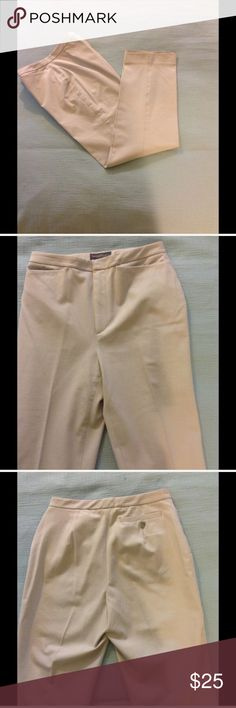 "Banana Republic Tan Dress Pants Cream color slacks with 2 front pockets and one back. No belt loops. 27"" inseam. 92% cotton 8% Lycra spandex Banana Republic Pants Straight Leg"