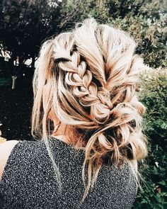A beautiful pop of braid in an ordinary messy bun