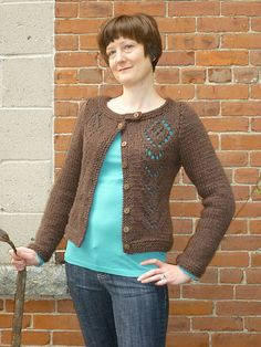Ravelry: Tall Flower Cardi pattern by Cecily Glowik MacDonald.  Chunky yarn.
