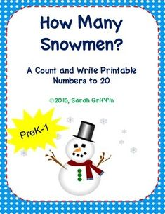 Enjoy this free printable counting worksheet. Great for morning work, bellwork, homework, or just to practice counting how many objects in a set;  common core skills for kindergarten math.  Count the snowmen, and write the number.  Numbers to 20.  More Snowman Resources Winter Snowman Theme Unit Snowman, Snowman Emergent ReaderMATH Related ResourcesK Math Rubric BundleCount the Crayons Addition to 5Daily Math TalkDecomposing Numbers to 10Position Words Illustrated Word Wall CardsSubitizing…