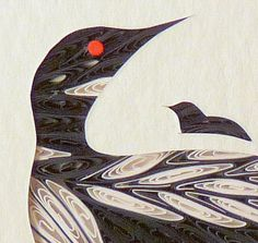 Quilled Little One Loon and Baby Bookcase Art