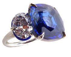 G London ring with a 13.40 cushion-cut Kashmir sapphire and diamonds