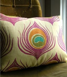 """hand printed, different twist on the peacock colors.  """"Orchid and Orange Peacock Feather Lumbar Linen Pillow Case"""""""
