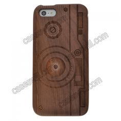Natural Real Carved Camera Style Wood Wooden Case Cover for iPhone 5 US$18.27