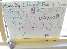 Sign-in Board for daily name writing.