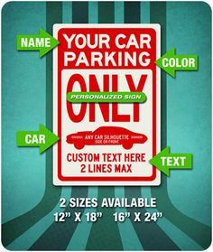 PERSONALIZED Parking Only Sign - ANY Silhouette -Your Text