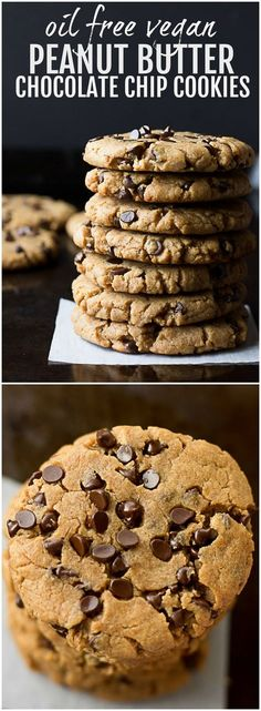 Oil Free Vegan Peanut Butter Chocolate Chip Cookies | Nora Cooks via @noracooks