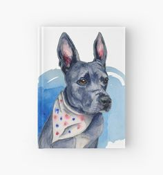 This is a drawing of a blue nose pit bull. He has a scarf with red and blue dots (stars) on it. His prominent feature is his long ears that stand up like a bunny! @stirling.the.pittie (instagram) was the reference for this drawing. Be sure to follow his account to follow this gorgeous pup's adventure! • Also buy this artwork on stationery, apparel, kids clothes, and more.
