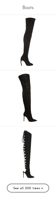 """""""Boots"""" by mariots22 ❤ liked on Polyvore featuring shoes, boots, black, black thigh-high boots, rounded toe boots, thigh-high boots, black suede boots, suede boots, sapatos and heels"""
