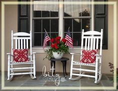 my Fourth of July decor at Bitz of Me #fourthofjuly #decor #patio #porch #flowers Fourth Of July Decor, 4th Of July Decorations, July 4th, Lawn Decorations, Do It Yourself Furniture, Building A Porch, House With Porch, House 2, Decks And Porches