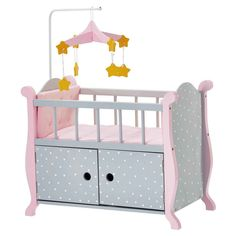 Olivia's Little World - Baby Doll Furniture - Nursery Crib Bed with Storage (Grey Polka Dots)