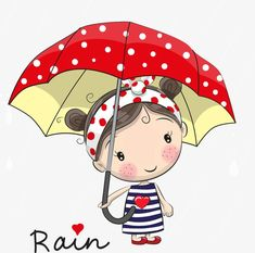 Illustration about Cute cartoon girl girl with an umbrella standing under a rain. Illustration of fashion, fall, doodle - 77911667 Cartoon Cartoon, Cute Cartoon Girl, Cartoon Drawings, Cute Drawings, Cartoon Characters, Cute Images, Cute Pictures, Drawing For Kids, Art For Kids