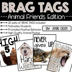 This product includes 20 sets of high-quality, versatile animal friends BRAG TAGS that your kids will be sure to love. It also includes a FAQ's with answers sheet.