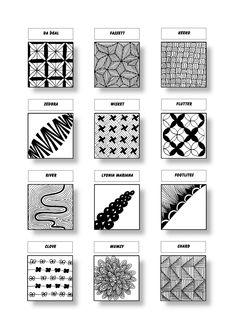 Zentangle Pattern Sheet 16 Patterns: Da ´Deal, Fassett, Keeko, Zedbra, Wisket, Flutter, River, Lyonia Mariana, Footlites, Clove, Mumsy, Chard