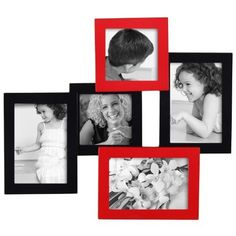 ADECO PF0317 5-Opening Wall Collage Photo Picture Frame - Holds 4x4 4x6 Inch Photos,Modern Black and Red Color,Best Gift by ADECO, http://www.amazon.com/dp/B008XO98EY/ref=cm_sw_r_pi_dp_zEAFrb1ZV90RP